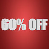 60 percent off 3d letters on red background. 60 percent off letters on red background. 3d render vector illustration