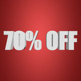 70 percent off 3d letters on red background. 70 percent off letters on red background. 3d render Royalty Free Stock Photography