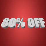 80 percent off 3d letters on red background. 80 percent off letters on red background. 3d render Royalty Free Stock Image