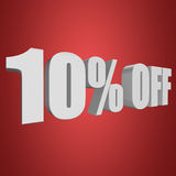 10 percent off 3d letters on red background. 10 percent off letters on red background. 3d render Stock Images