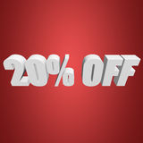 20 percent off 3d letters on red background. 20 percent off letters on red background. 3d render Royalty Free Stock Photo