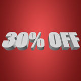 30 percent off 3d letters on red background. 30 percent off letters on red background. 3d render Stock Photo
