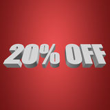 20 percent off 3d letters on red background. 20 percent off letters on red background. 3d render Stock Photography
