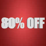 80 percent off 3d letters on red background. 80 percent off letters on red background. 3d render Stock Images