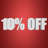 10 percent off 3d letters on red background. 10 percent off letters on red background. 3d render isolated Stock Images