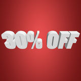 30 percent off 3d letters on red background. 30 percent off letters on red background. 3d render isolated Stock Image