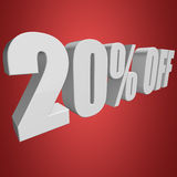 20 percent off 3d letters on red background. 20 percent off letters on red background. 3d render isolated Royalty Free Stock Images