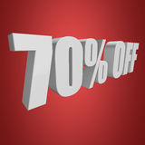 70 percent off 3d letters on red background Royalty Free Stock Photo