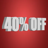 40 percent off 3d letters on red background Royalty Free Stock Image