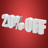 20 percent off 3d letters on red background. 20 percent off letters on red background. 3d render isolated Stock Image