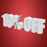 10 percent off 3d letters on red background. 10 percent off letters on red background. 3d render isolated Royalty Free Stock Photos