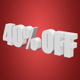40 percent off 3d letters on red background Stock Images