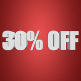 30 percent off 3d letters on red background. 30 percent off letters on red background. 3d render isolated Stock Photography