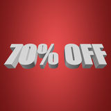 70 percent off 3d letters on red background. 70 percent off letters on red background. 3d render isolated Stock Photos