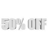50 percent off 3d letters on white background. 50 percent off letters on white background. 3d render Stock Image