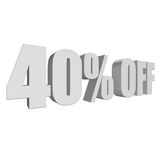 40 percent off 3d letters on white background Stock Images