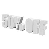 50 percent off 3d letters on white background. 50 percent off letters on white background. 3d render isolated Vector Illustration