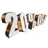 20 percent off 3d letters on white background. 20 percent off letters on white background. 3d render isolated Stock Image