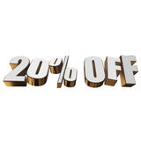 20 percent off 3d letters on white background. 20 percent off letters on white background. 3d render isolated Stock Photos
