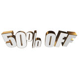 50 percent off 3d letters on white background. 50 percent off letters on white background. 3d render isolated Stock Illustration