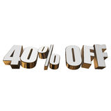 40 percent off 3d letters on white background Stock Photos