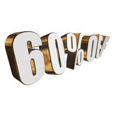 60 percent off 3d letters on white background Stock Image