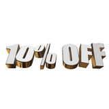 10 percent off 3d letters on white background. 10 percent off letters on white background. 3d render isolated Stock Photos