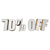 70 percent off 3d letters on white background. 70 percent off letters on white background. 3d render isolated Royalty Free Stock Photo