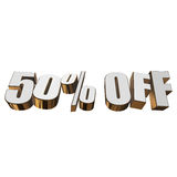 50 percent off 3d letters on white background. 50 percent off letters on white background. 3d render isolated Stock Image