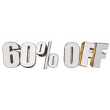 60 percent off 3d letters on white background Stock Photo