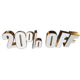 20 percent off 3d letters on white background. 20 percent off letters on white background. 3d render isolated vector illustration
