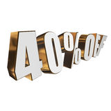 40 percent off 3d letters on white background Stock Photo