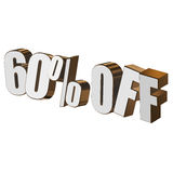 60 percent off 3d letters on white background Royalty Free Stock Photo