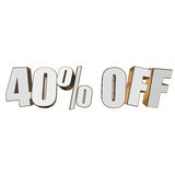 40 percent off 3d letters on white background Royalty Free Stock Photography