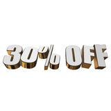 30 percent off 3d letters on white background. 30 percent off letters on white background. 3d render isolated Royalty Free Stock Image