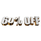60 percent off 3d letters on white background Royalty Free Stock Images