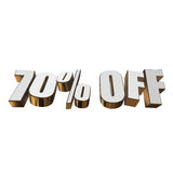 70 percent off 3d letters on white background Stock Images
