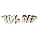 70 percent off 3d letters on white background. 70 percent off letters on white background. 3d render isolated Royalty Free Stock Photos