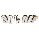 30 percent off 3d letters on white background. 30 percent off letters on white background. 3d render isolated Royalty Free Stock Photo