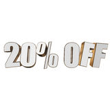 20 percent off 3d letters on white background Stock Photos