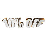 10 percent off 3d letters on white background. 10 percent off letters on white background. 3d render isolated Royalty Free Stock Photography