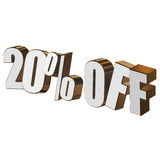 20 percent off 3d letters on white background Stock Image