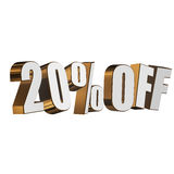 20 percent off 3d letters on white background Royalty Free Stock Photos