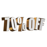 70 percent off 3d letters on white background Stock Image