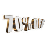 70 percent off 3d letters on white background Royalty Free Stock Photo
