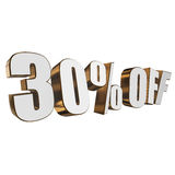 30 percent off 3d letters on white background. 30 percent off letters on white background. 3d render isolated Stock Images