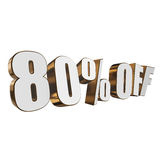 80 percent off 3d letters on white background. 80 percent off letters on white background. 3d render isolated Stock Images