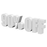 90 percent off 3d letters on white background. 90 percent off letters on white background. 3d render isolated royalty free illustration
