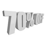 70 percent off 3d letters on white background Stock Photography