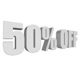 50 percent off 3d letters on white background. 50 percent off letters on white background. 3d render isolated Royalty Free Illustration